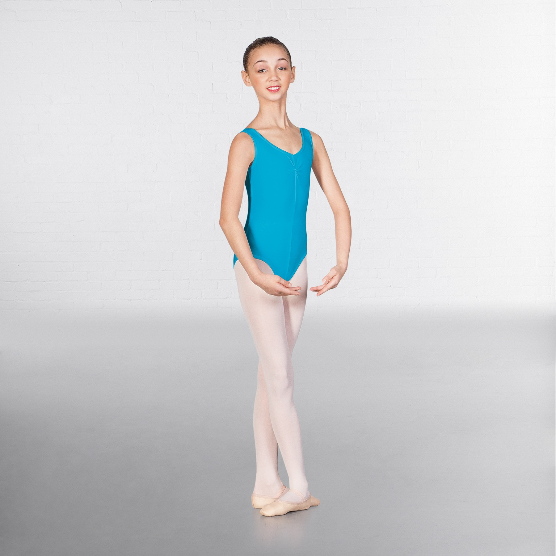 1st Position Angela Ruched Front Leotard (Kingfisher)