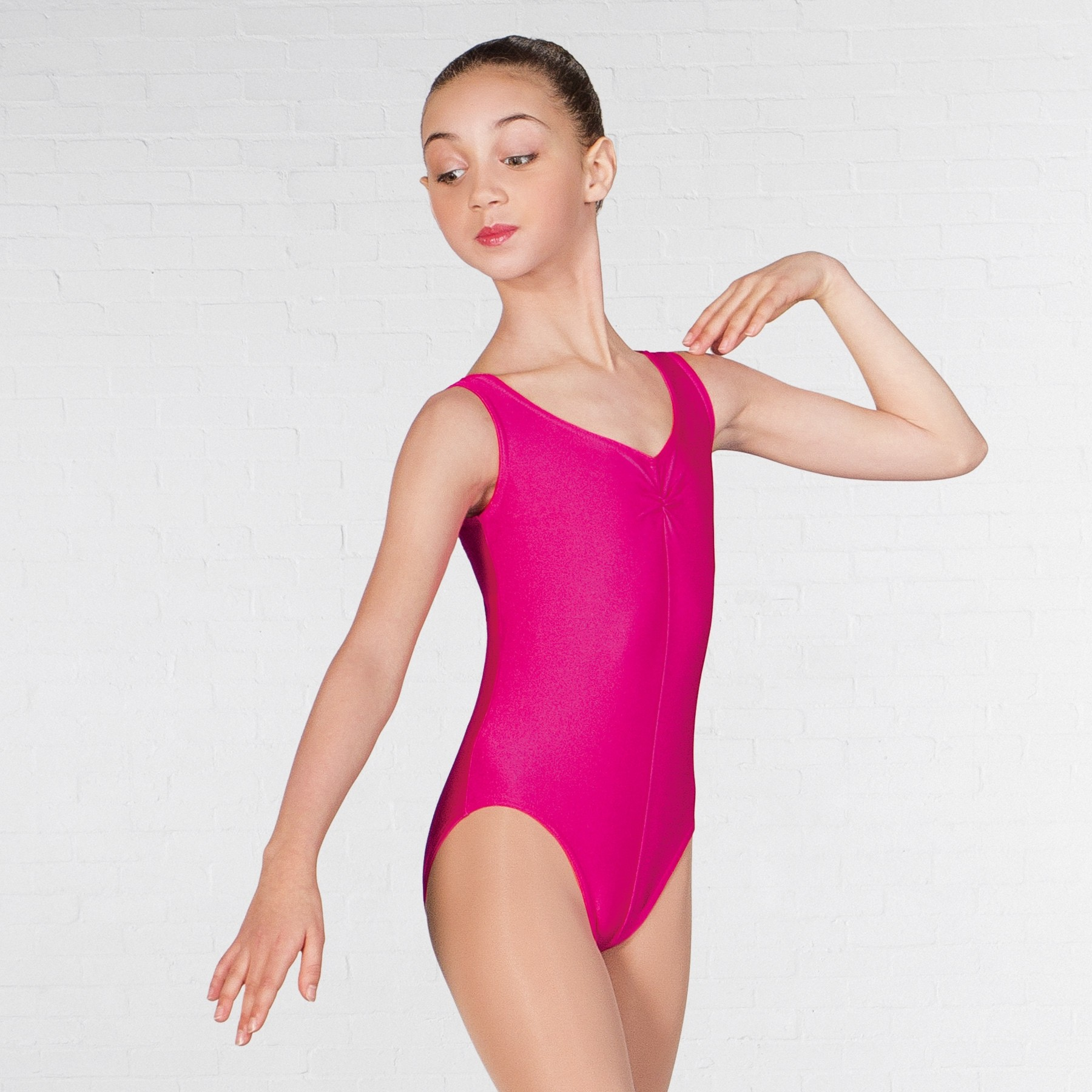 1st Position Angela Ruched Front Leotard (Bright Raspberry)