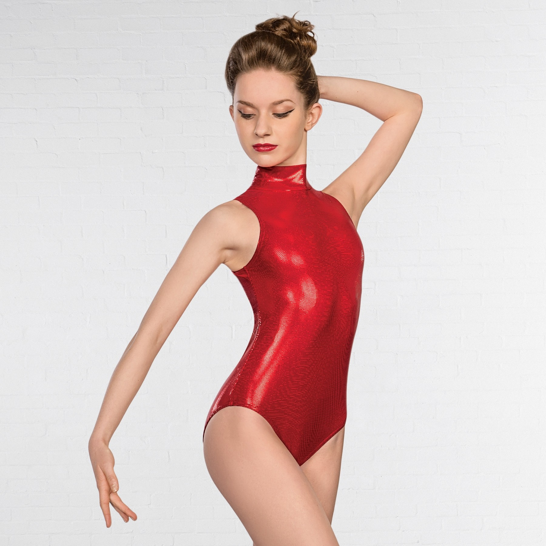 1st Position High Neck Keyhole Leotard Metallic Dot (Red)
