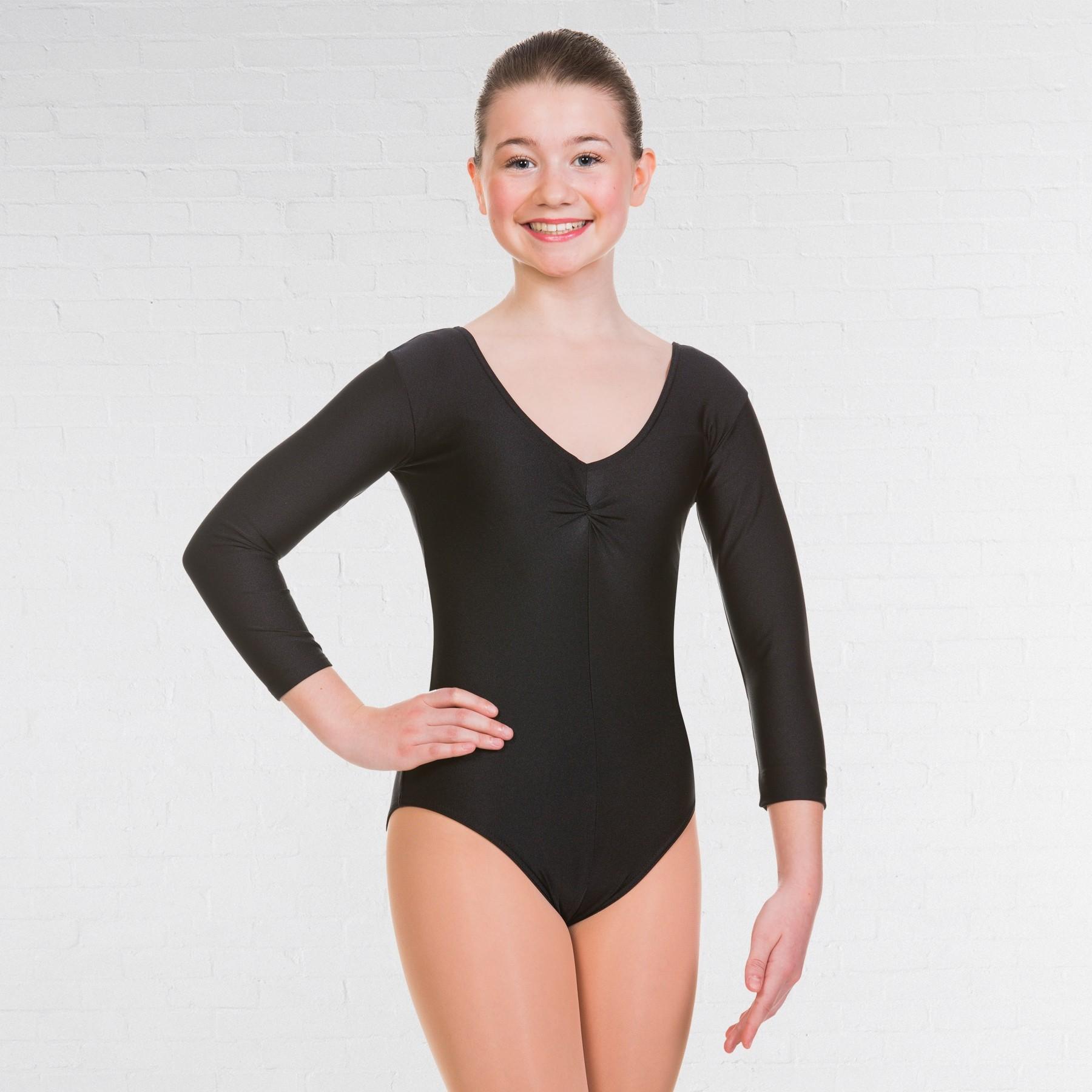 1st Position Joanne 3/4 Sleeved Leotard - Black
