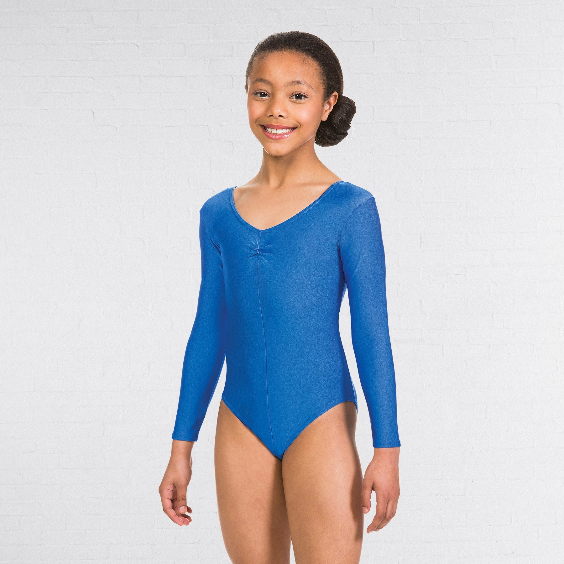 1st Position Ruched Front Long Sleeved Leotard (Royal) - Size 0