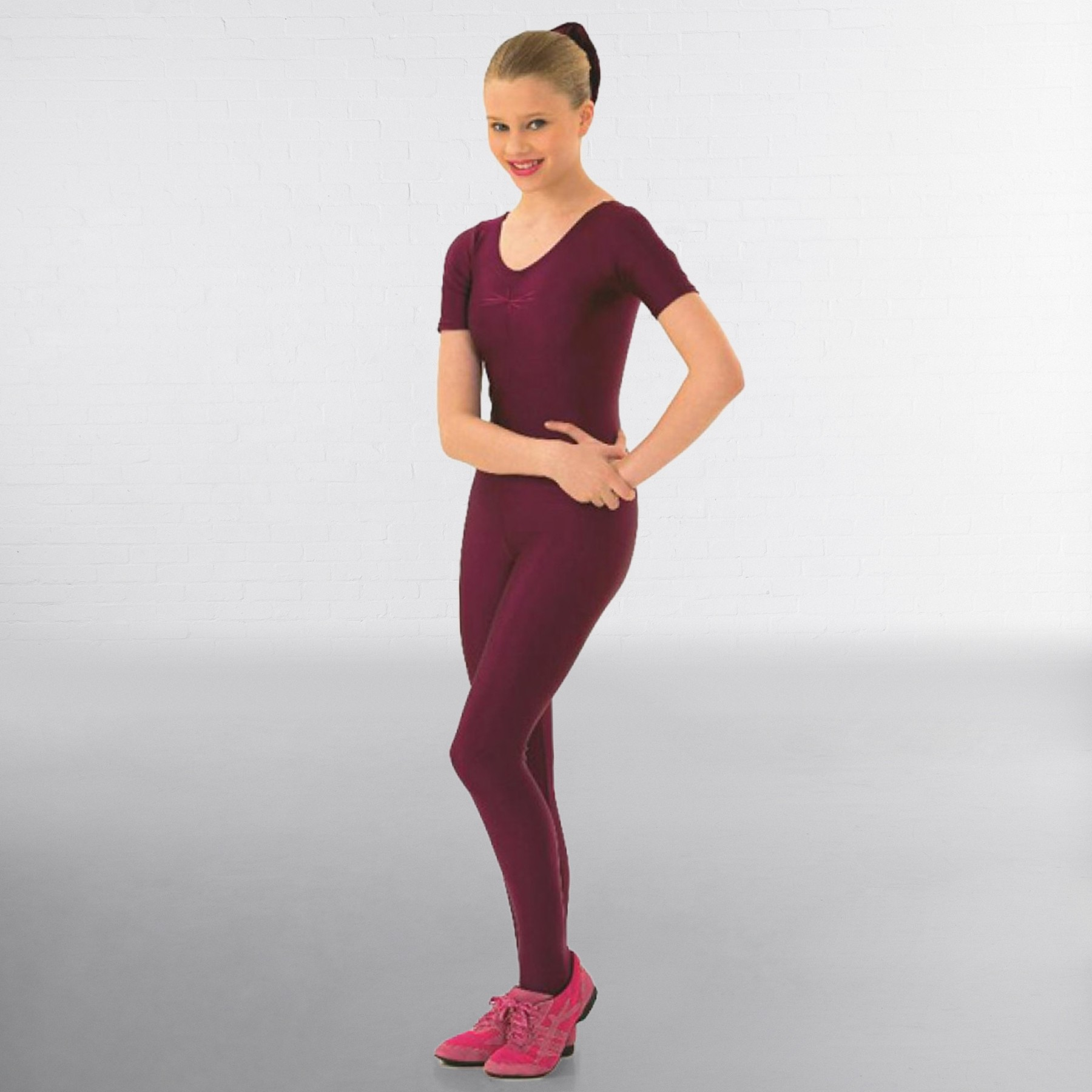 1st Position Jenny Ruched Front Catsuit (Burgundy)