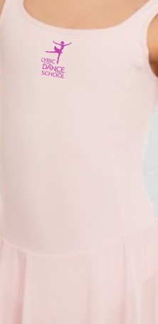 1st Position Meryl Skirted Leotard (Light Pink) printed with Lyric Dance Studio Logo