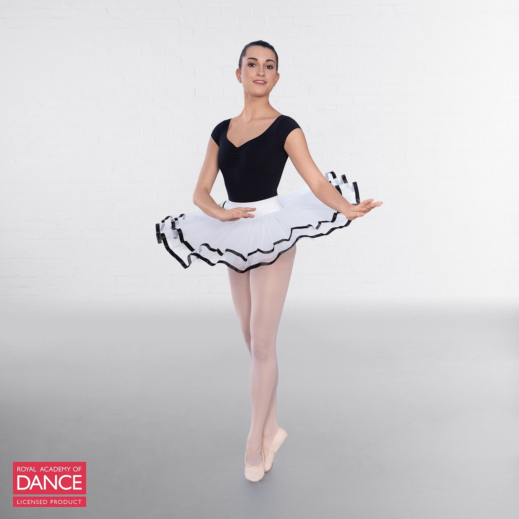 RAD Approved Traditional White Tutu with Ribbon (White/Black)