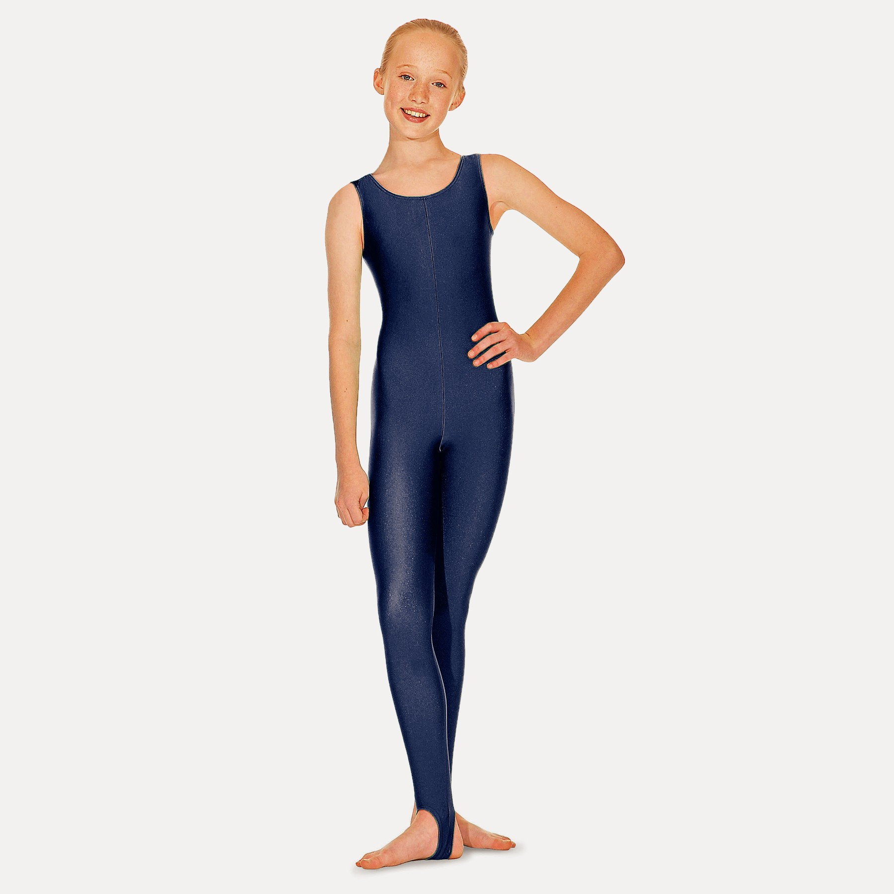 Roch Valley Nylon Lycra Sleeveless Stirrup Catsuit (Navy Blue)