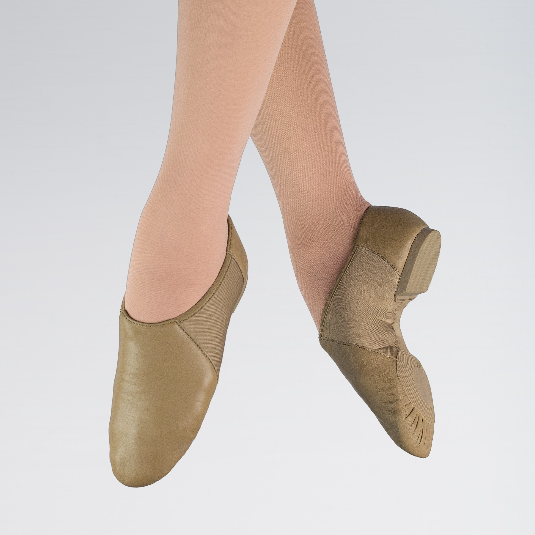 1st Position Split Sole Stretch Jazz Shoe (Caramel)