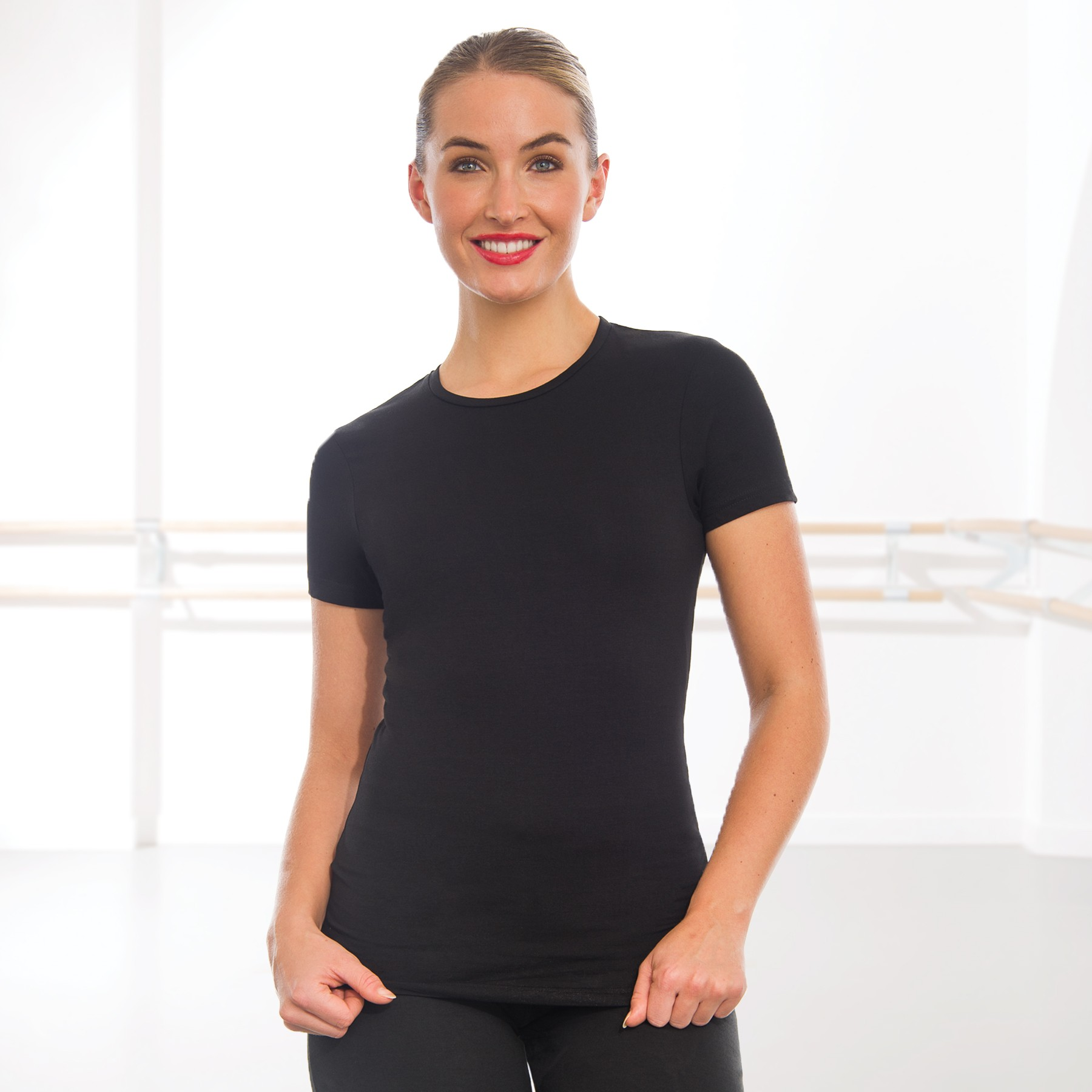Skinnifit The Feel Good Stretch T-Shirt (Black) with Afonso School of Performing Arts Logo
