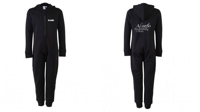 SF Minni Kids All In One (Black) Personalised with Individual Names and Afonso School of Performing arts Logo