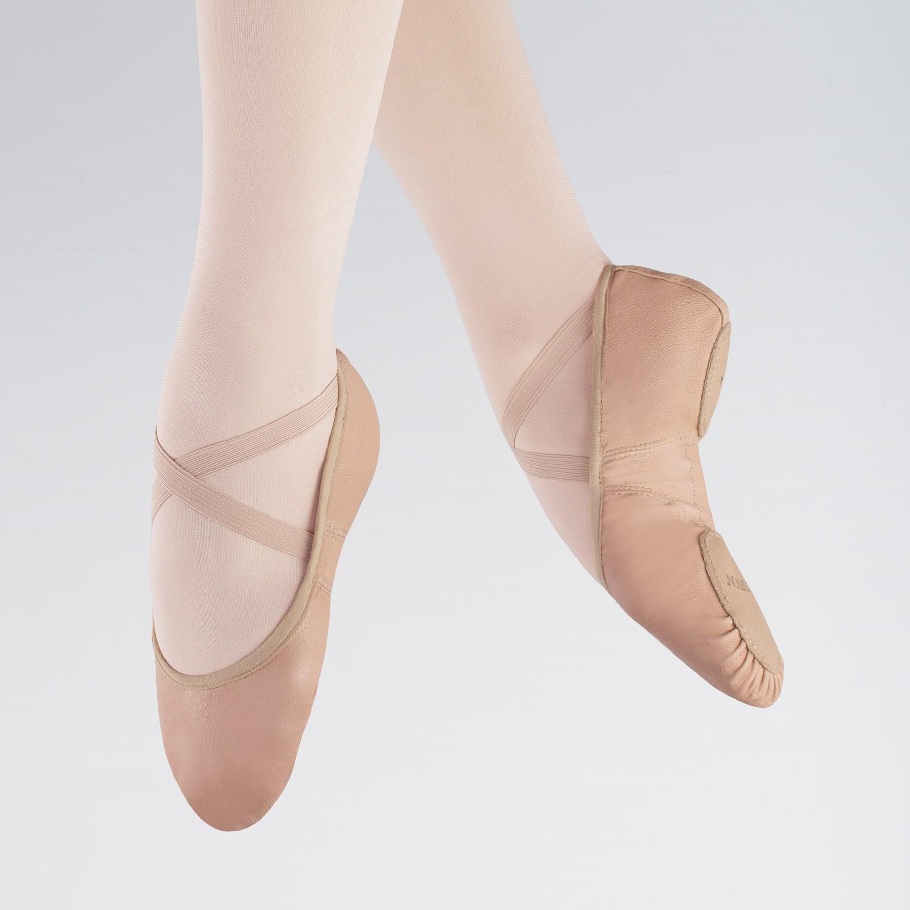 1st Position Ballettschuhe aus dehnbarem Leder in Rosa