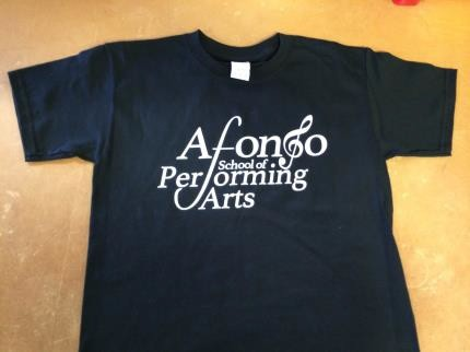 Adult T-shirt in Black printed with the Afonso School of Performing Arts Logo