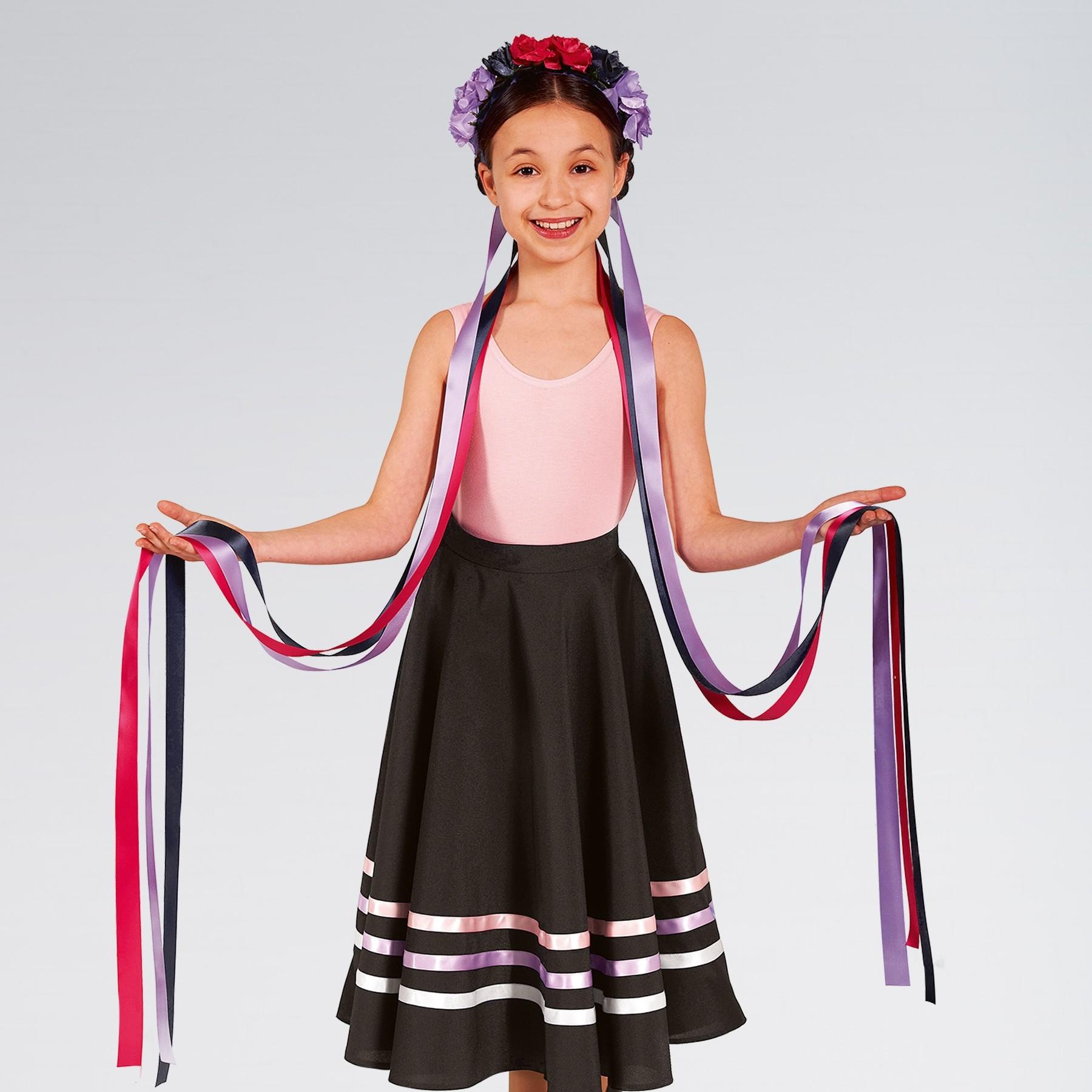 Floral Long Ribbon Headdress Dark