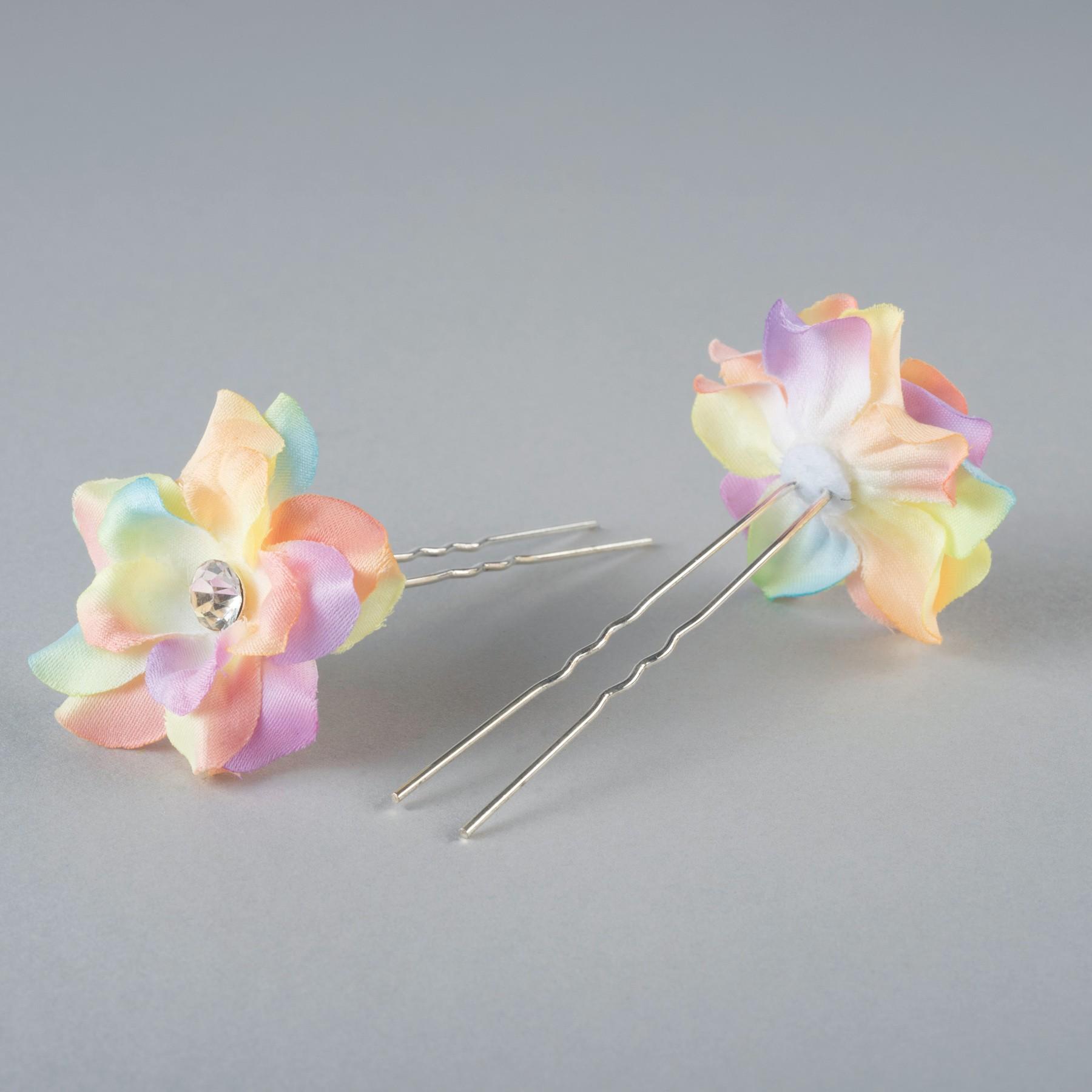 Fabric Flower Hairpins Pair Rainbow