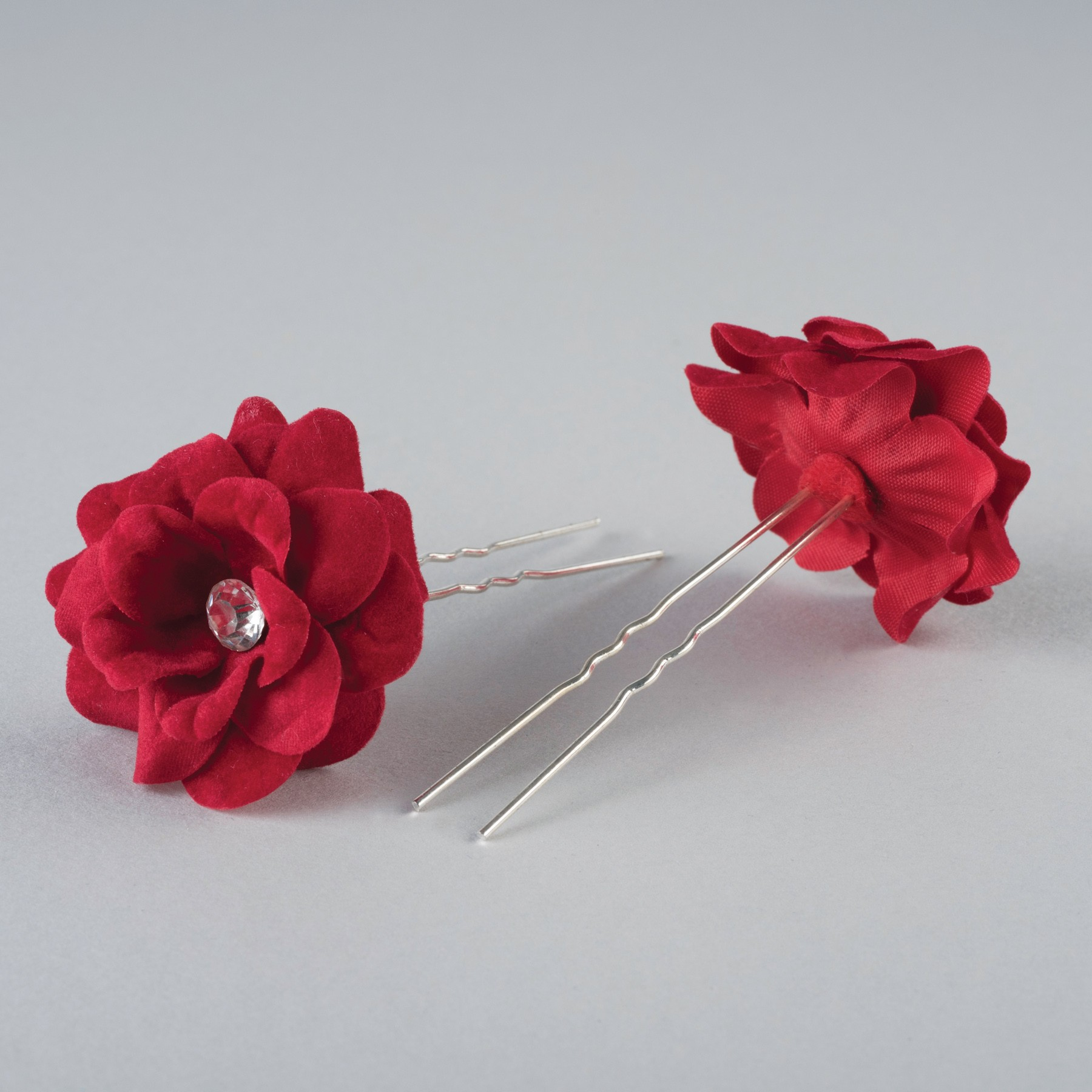 Fabric Flower Hairpins Pair Red
