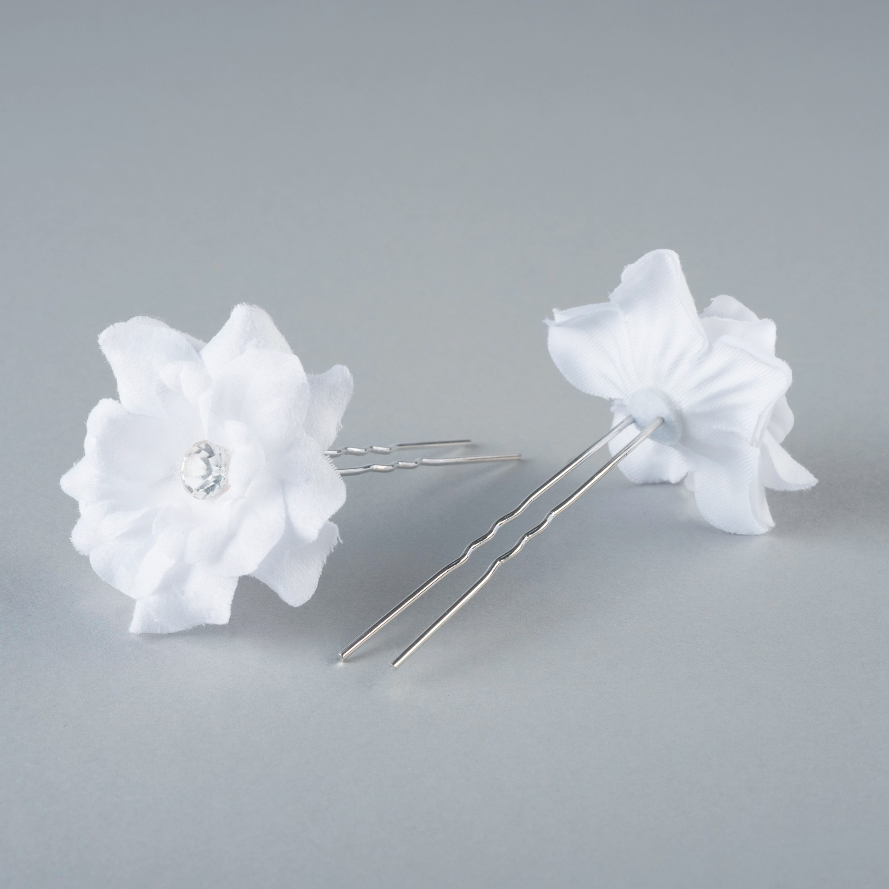 Fabric Flower Hairpins Pair White Cooper School Of Dance And