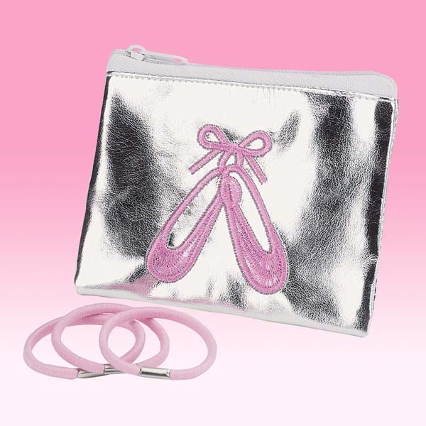 Silver Ballet Shoes Purse with Ponios