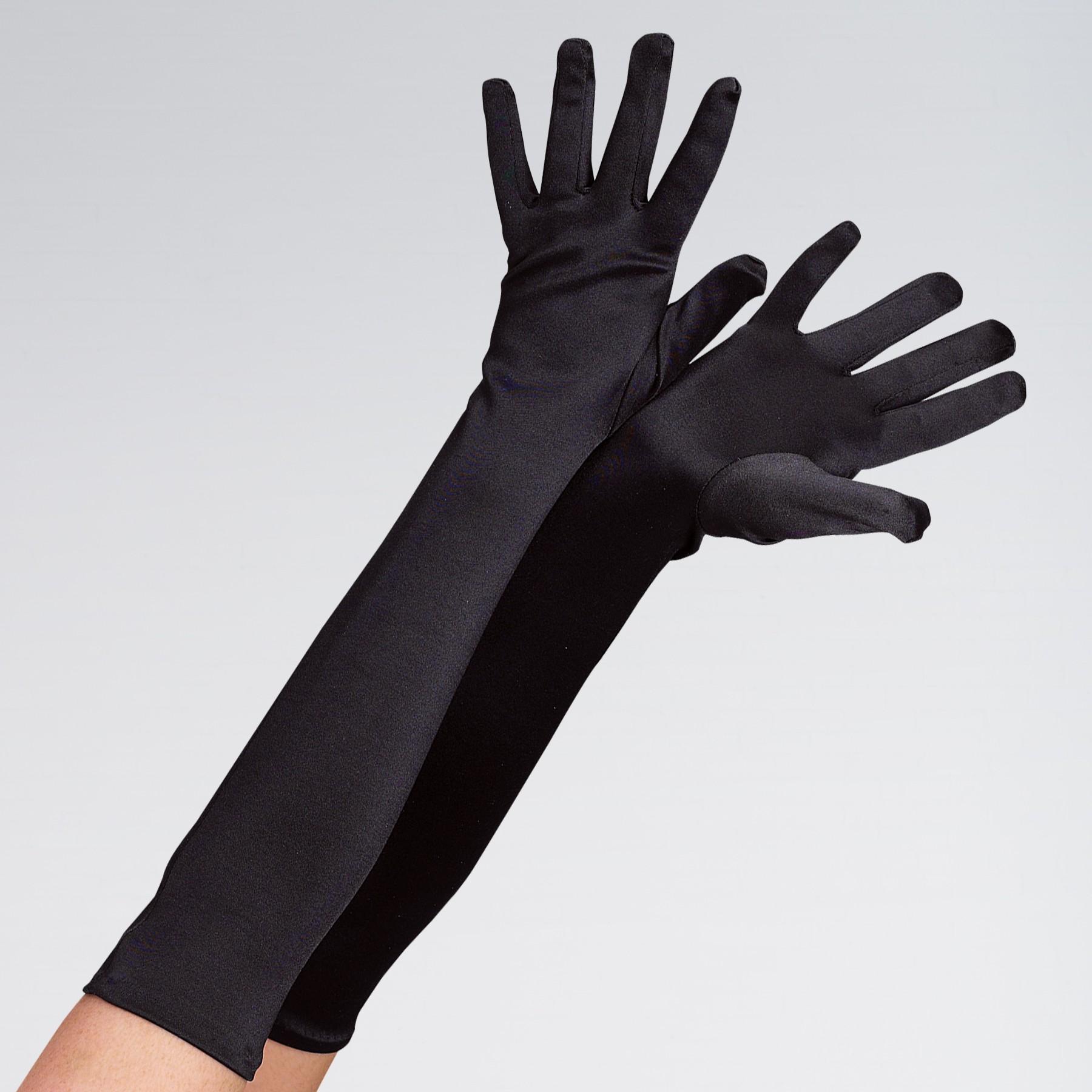Long Satin Glove Black