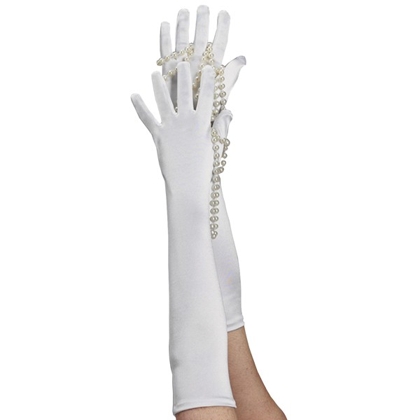 Long Satin Glove White
