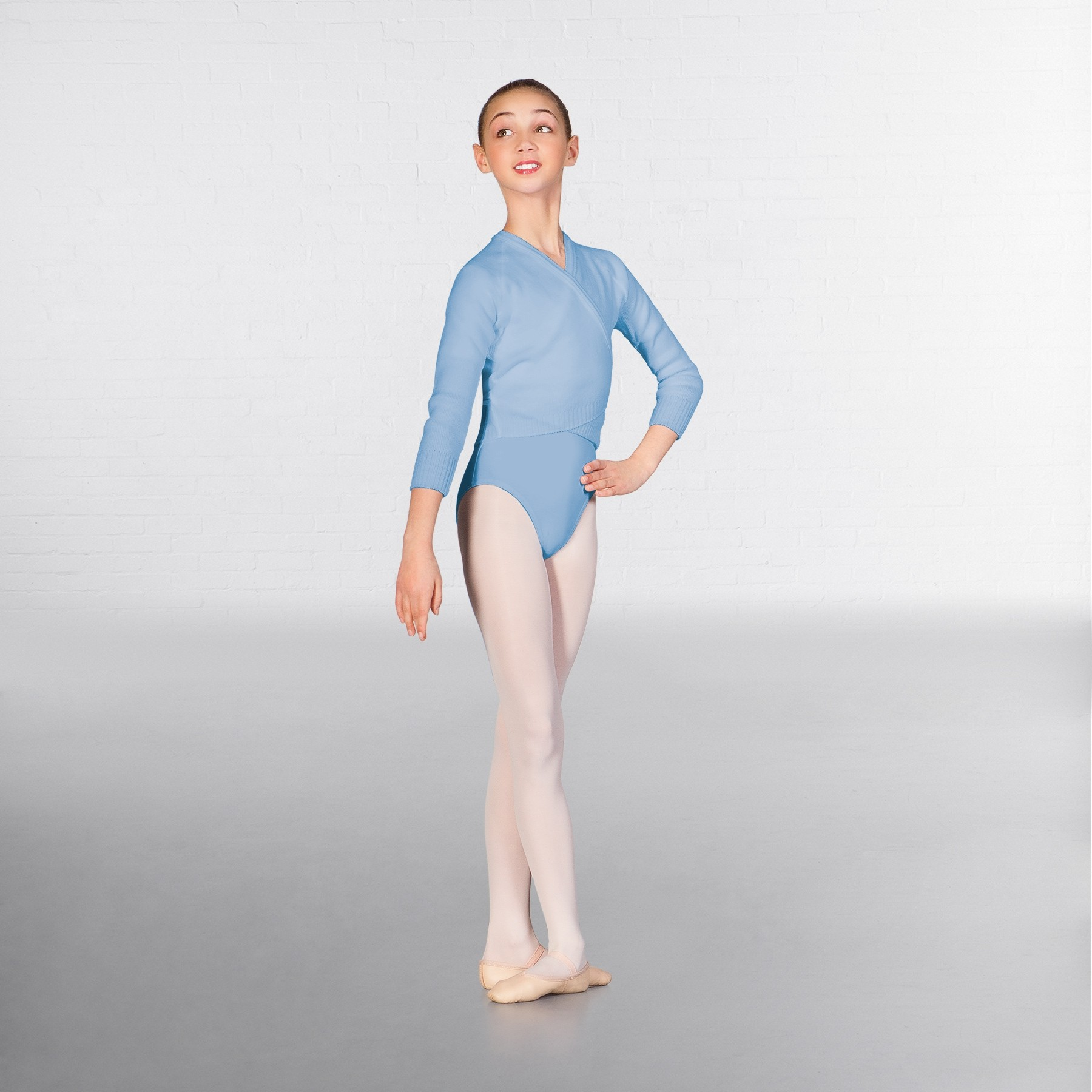 1st Position Long Sleeved Acrylic X-Over (Pale Blue)