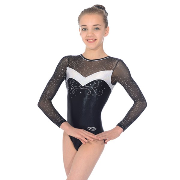 The Zone Ultra Round Neck Long Sleeve Leotard (Black)