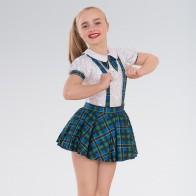 1st Position Kariertes Schulmädchen-Kostüm mit Schleife
