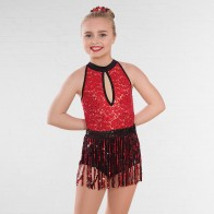 1st Position Sequin Unitard with Sequinned Fringe Skirt