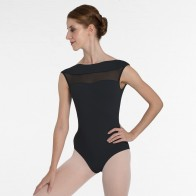 Intermezzo Cap Sleeved Leotard with Low Back and Mesh Detail