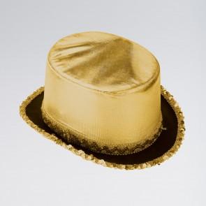 Sombrero de copa de lamé con ribeteado de lentejuelas
