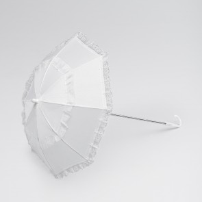 White Long Handle Lace Trim Parasol