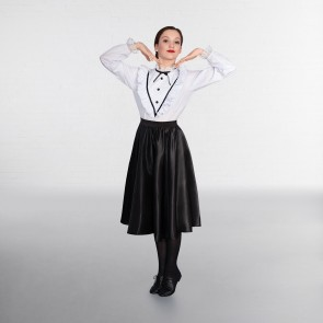 1st Position White/Black Victorian Blouse