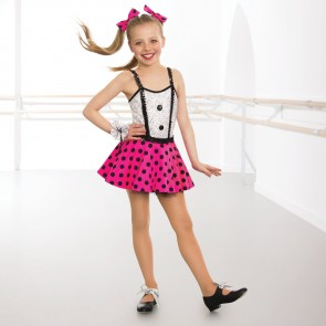 Sequin Bodice Polka Dot Dress with Pants