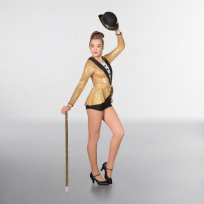 1st Position Prestige Tuta Playsuit Tap in Paillettes - Oro