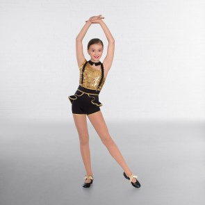 1st Position Gold Asymmetrical Sequin Glitz Unitard
