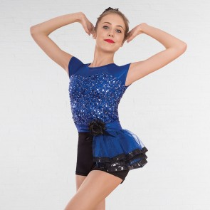 1st Position Sequin Glitz Unitard with Side Tutu Skirt