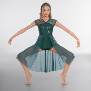 1st Position Sequin Lyrical Unitard with Open Front Skirt