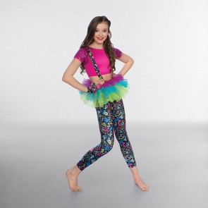 1st Position Sequin Crop Top with Printed Leggings and Separate Tutu