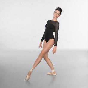 1st Position Schwarzes Fashion-Trikot mit tiefem Rückenausschnitt und Mesh-Ärmeln