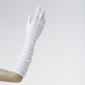 White Plissé Elastane Gloves