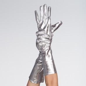 Silver Metallic Gloves