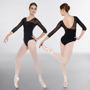 Intermezzo 3/4 Sleeved Leotard with Flocked Mesh