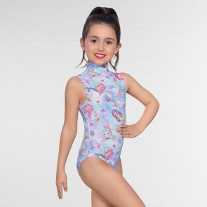 1st Position Mermaid Print Polo Neck Leotard