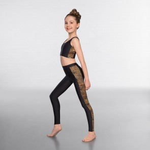 1st Position Leggings Nero con Striscia Leopardata