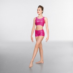 1st Position Metallic Hot Pants Cerise