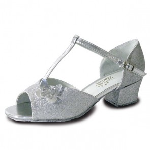 Roch Valley Carrie Childrens Ballroom Glitter Shoe with A T-Bar Strap Butterfly Motif Cuban Heel