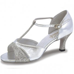 4fb4382a69fbd6 Roch Valley Lucina Ladies Ballroom Glitter Shoe with T-Bar Straps 2.5 inch  Slim Flared
