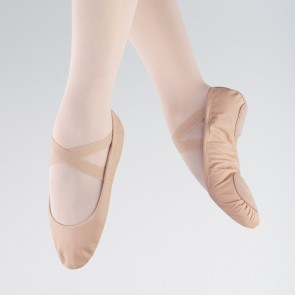 So Danca Demi-pointes Bi-semelle en Cuir Souple Rose