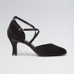 So Danca Satin Closed Toe with Crossed Straps 2.5 inch Heel