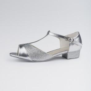 1st Position Silberfarbene PU Standardtanz-Schuhe für Kinder