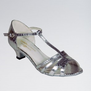 Elena Silver Mock-Croc PU Ballroom Shoe with a T-bar and Slip Buckle