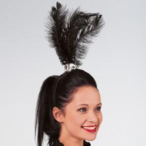 Haarband mit Federbüschel in schwarz