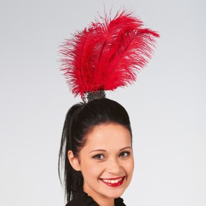 Haarband mit Federbüschel in rot